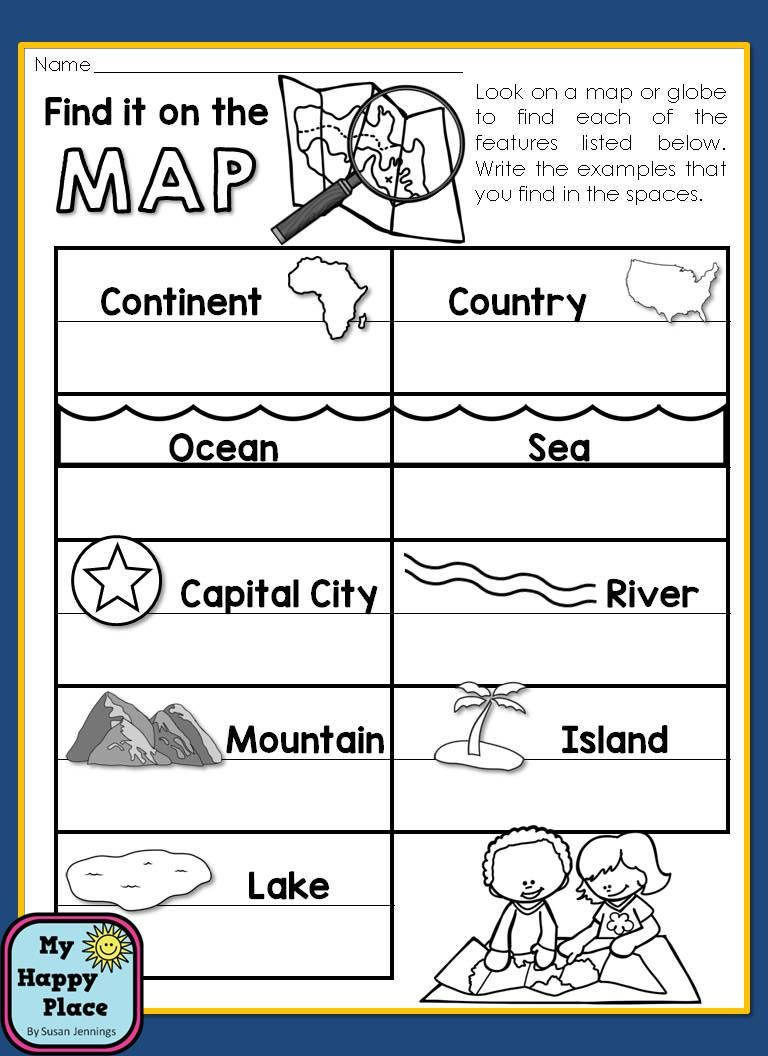 1st Grade Map Skills Worksheets Maps Unit with Powerpoint and Printables Geography