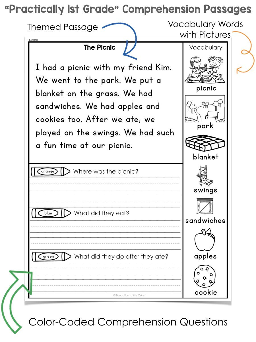 "1st Grade Reading Fluency Worksheets Practically 1st Grade"" Reading Prehension Passages and"