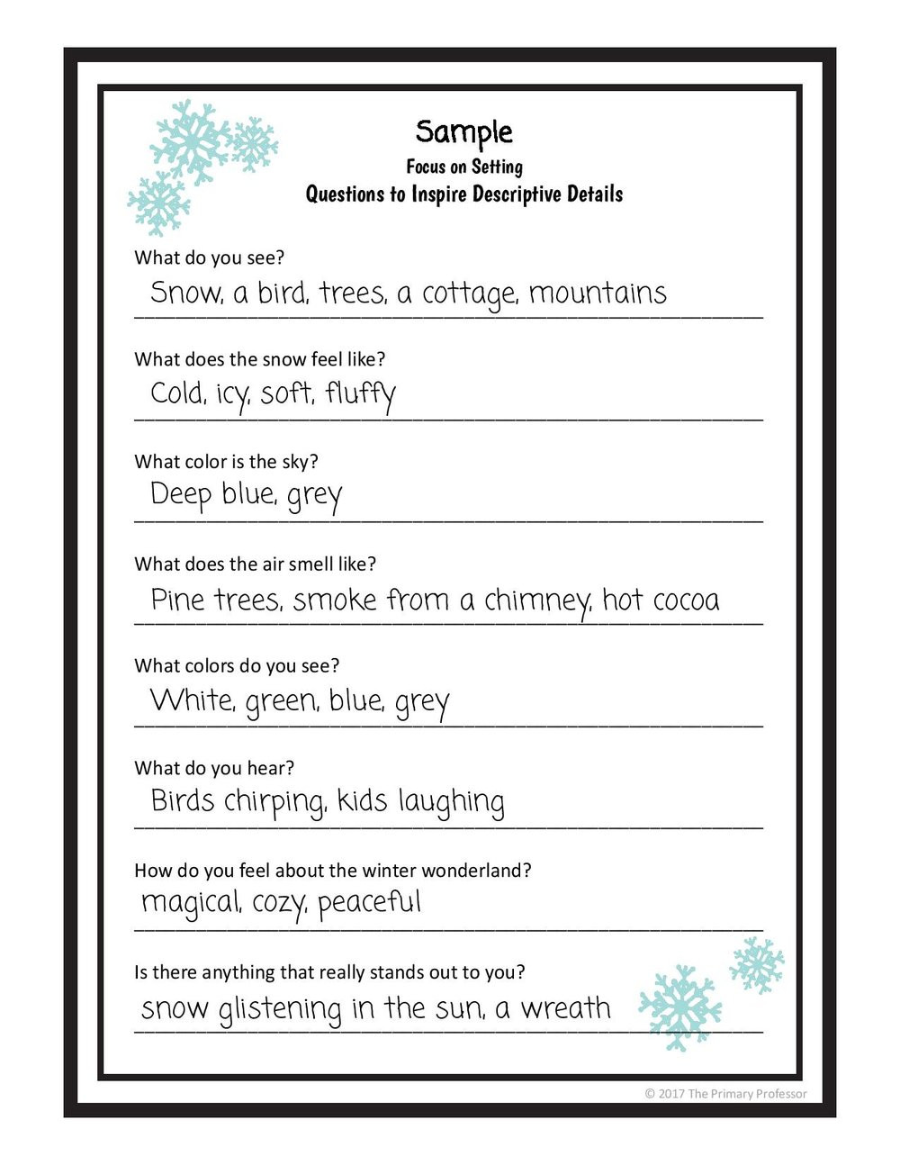 1st Grade Sentence Starters Descriptive Writing Lesson A Winter Setting — Teachwriting
