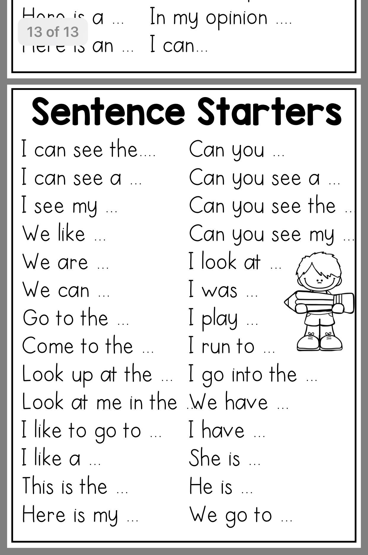 1st Grade Sentence Starters Pin On 1st Grade Teaching Ideas
