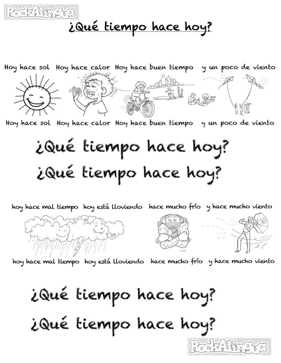1st Grade Weather Worksheets Spanish Weather song for Kids Easy Level Rockalingua