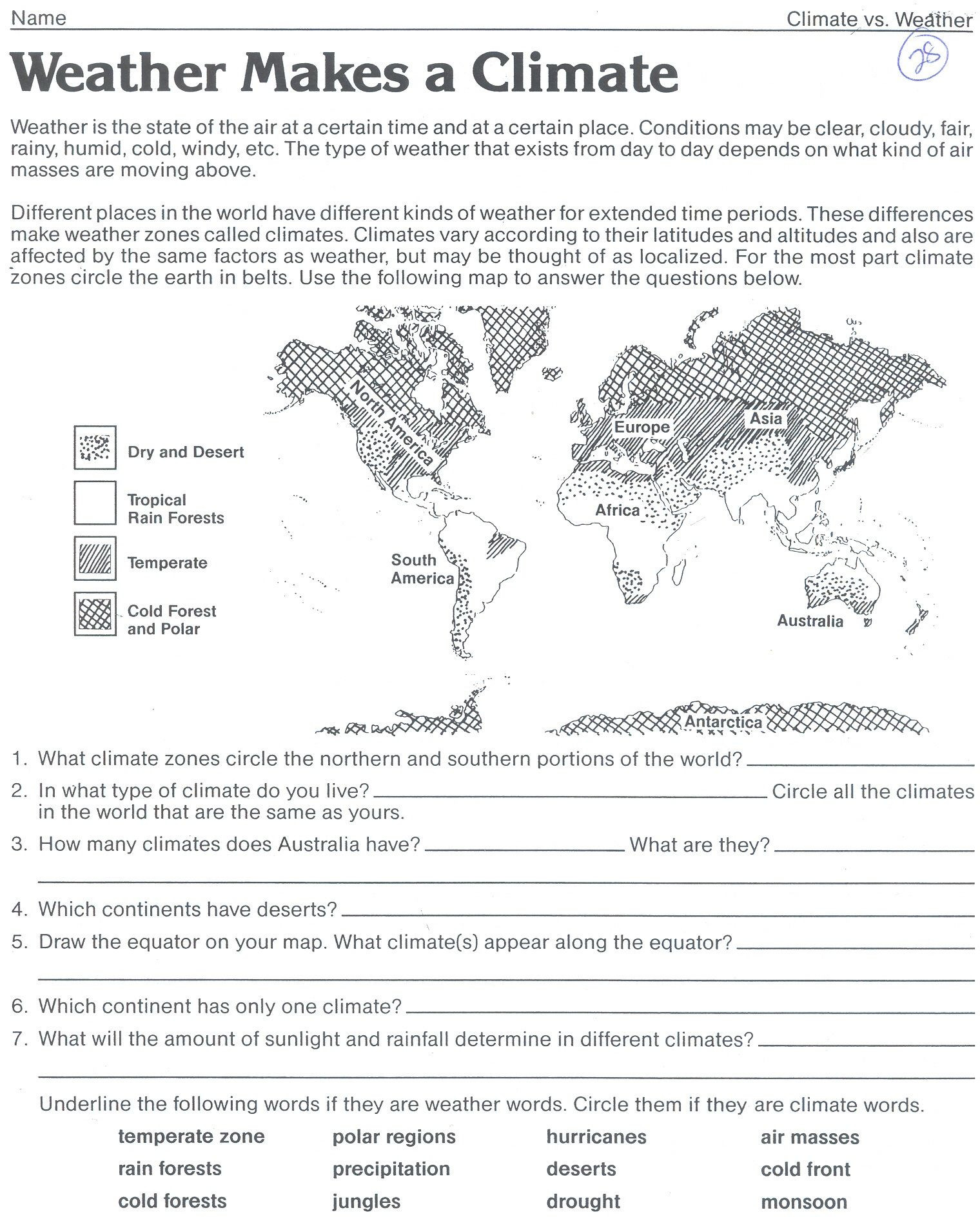 1st Grade Weather Worksheets Weather Makes A Climate Worksheet Classroom