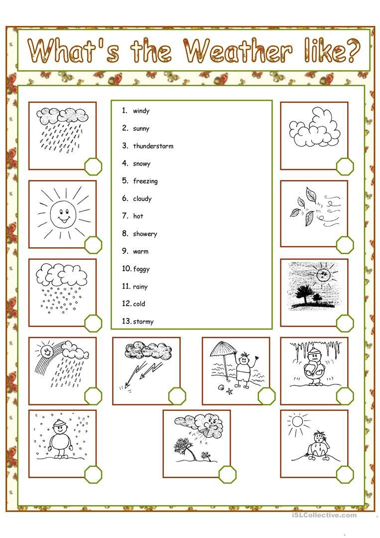 1st Grade Weather Worksheets What S the Weather Like Worksheet Free Esl Printable