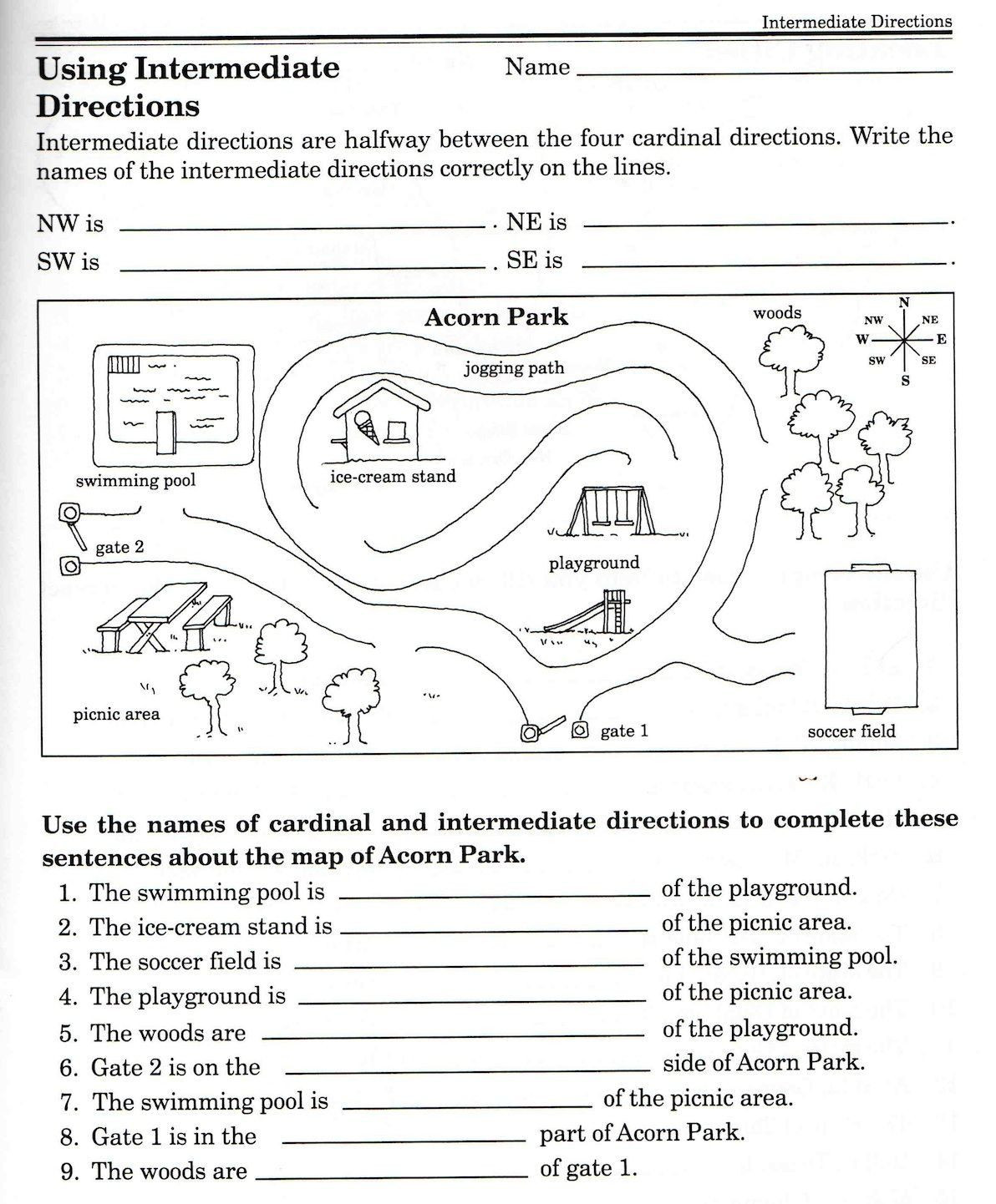 2nd Grade Map Skills Worksheets 3 Cardinal Direction Map Skills Worksheet Christina Javier