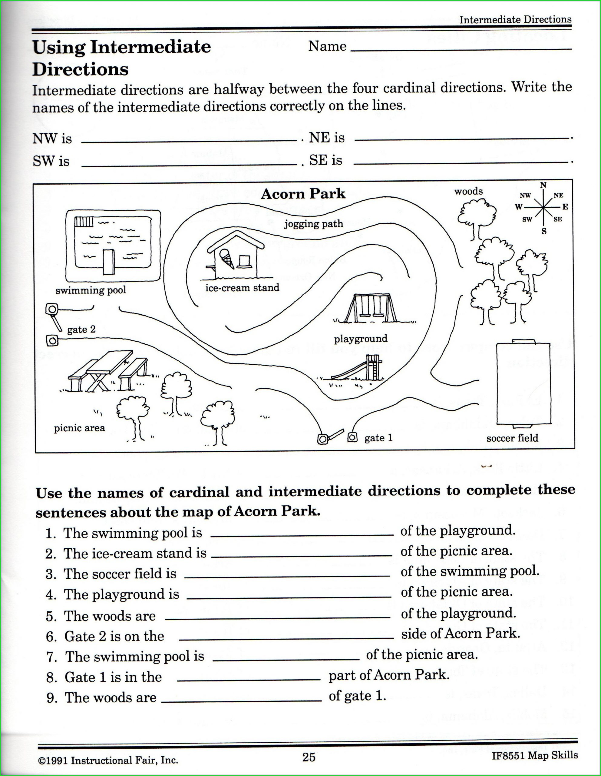 2nd Grade Map Skills Worksheets Cardinal Directions Worksheet Middle School