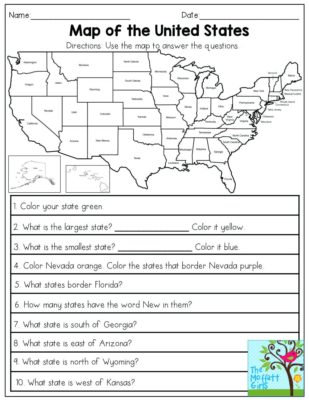 2nd Grade Map Skills Worksheets Map Skills Worksheets to Printable Map Skills Worksheets