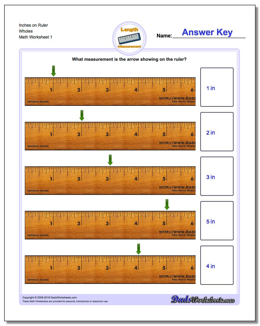2nd Grade Math Worksheets Measurement Inches Measurement