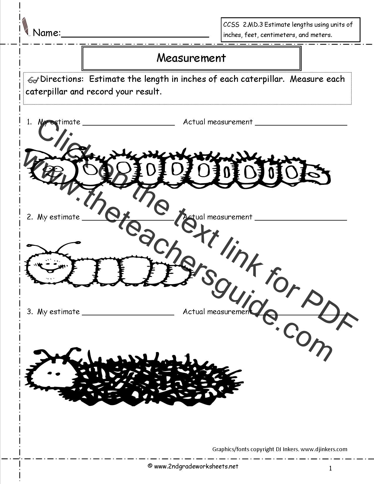 2nd Grade Measurement Worksheets Pdf Ccss 2 Md 3 Worksheets Estimating and Measuring Lengths