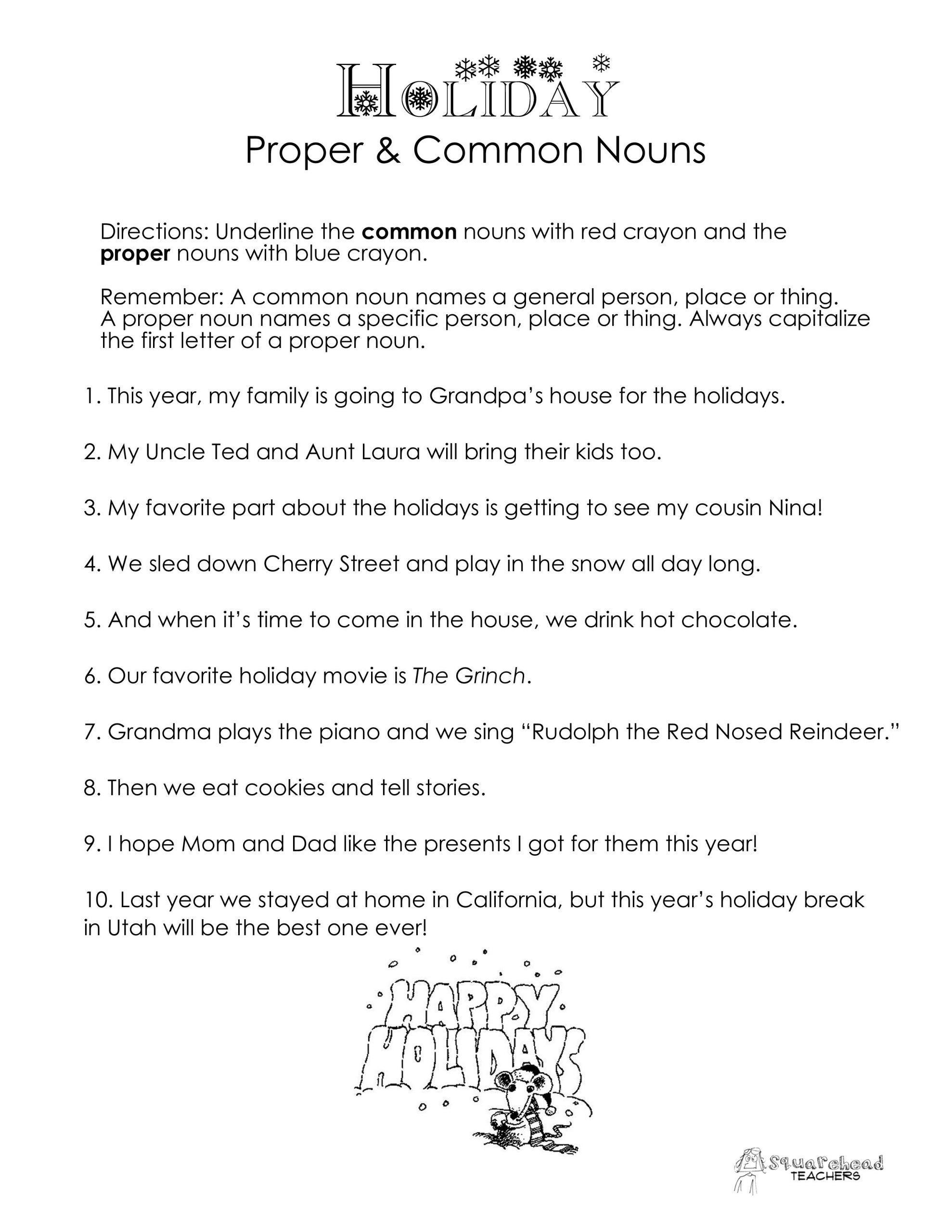 2nd Grade Proper Nouns Worksheet Mon Vs Proper Nouns Christmas Winter Holidays Worksheet
