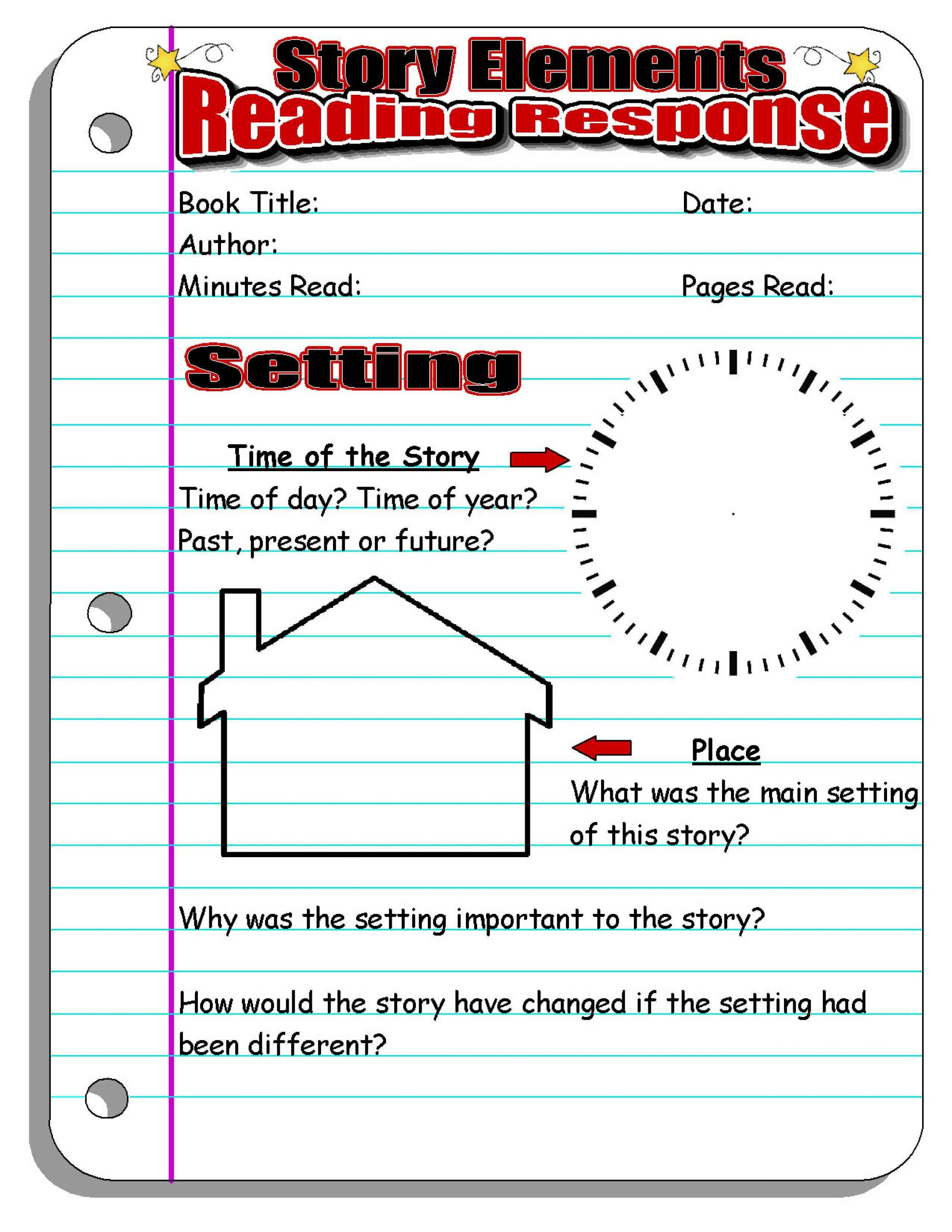 2nd Grade Reading Response Worksheets Reading Response forms and Graphic organizers