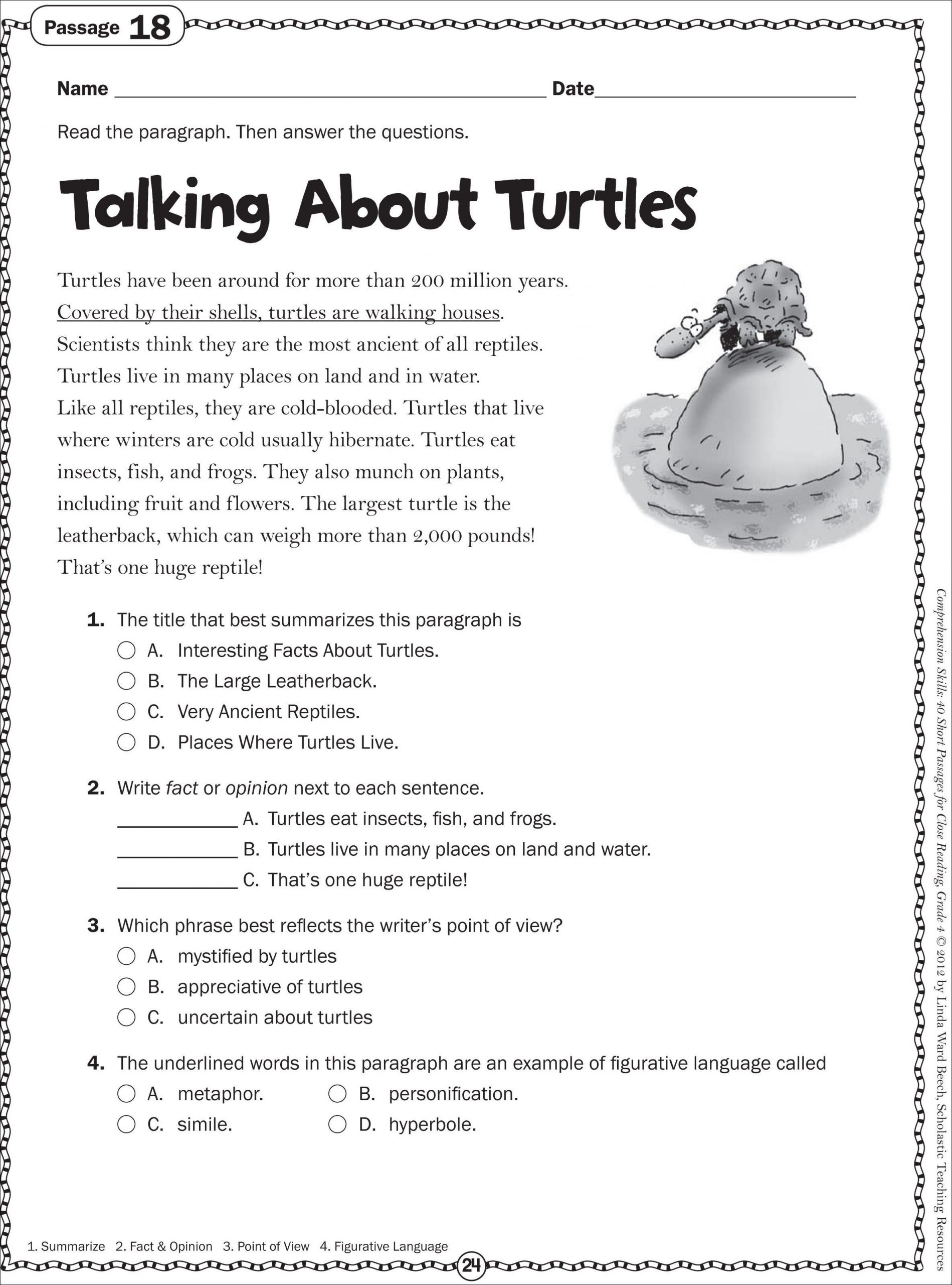 2nd Grade Reading Worksheets Printable Turtle Non Fiction Passage
