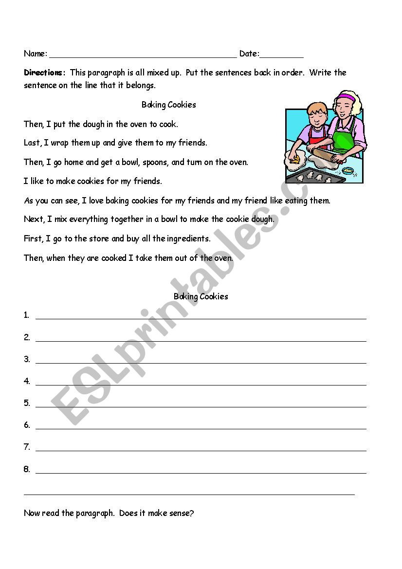 2nd Grade Sequencing Worksheets Sequencing Paragraph Baking Cookies Esl Worksheet by