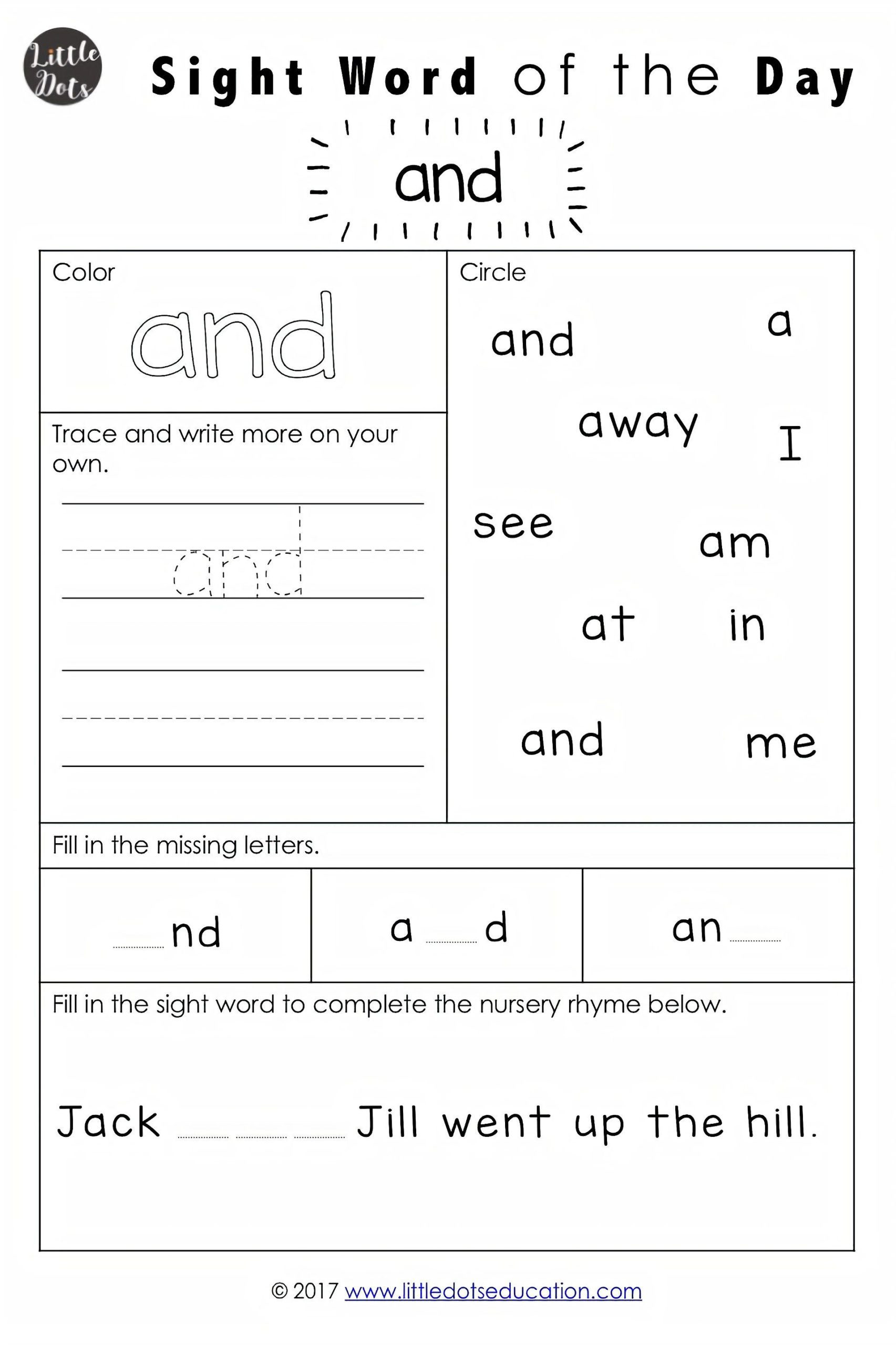 2nd Grade Sight Word Worksheets Dolch Pre Primer Sight Words Activities with Word