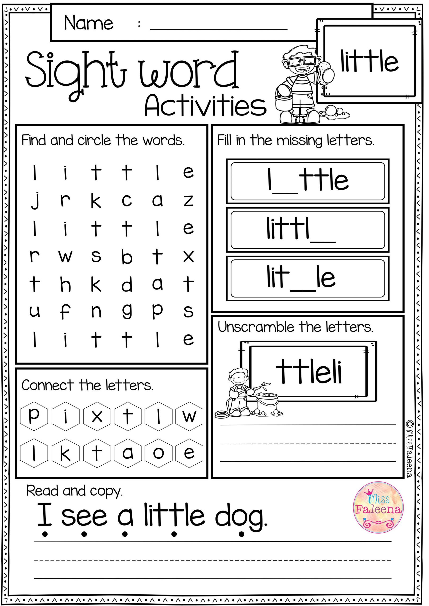 2nd Grade Sight Word Worksheets Sight Word Activities Pre Primer Rt
