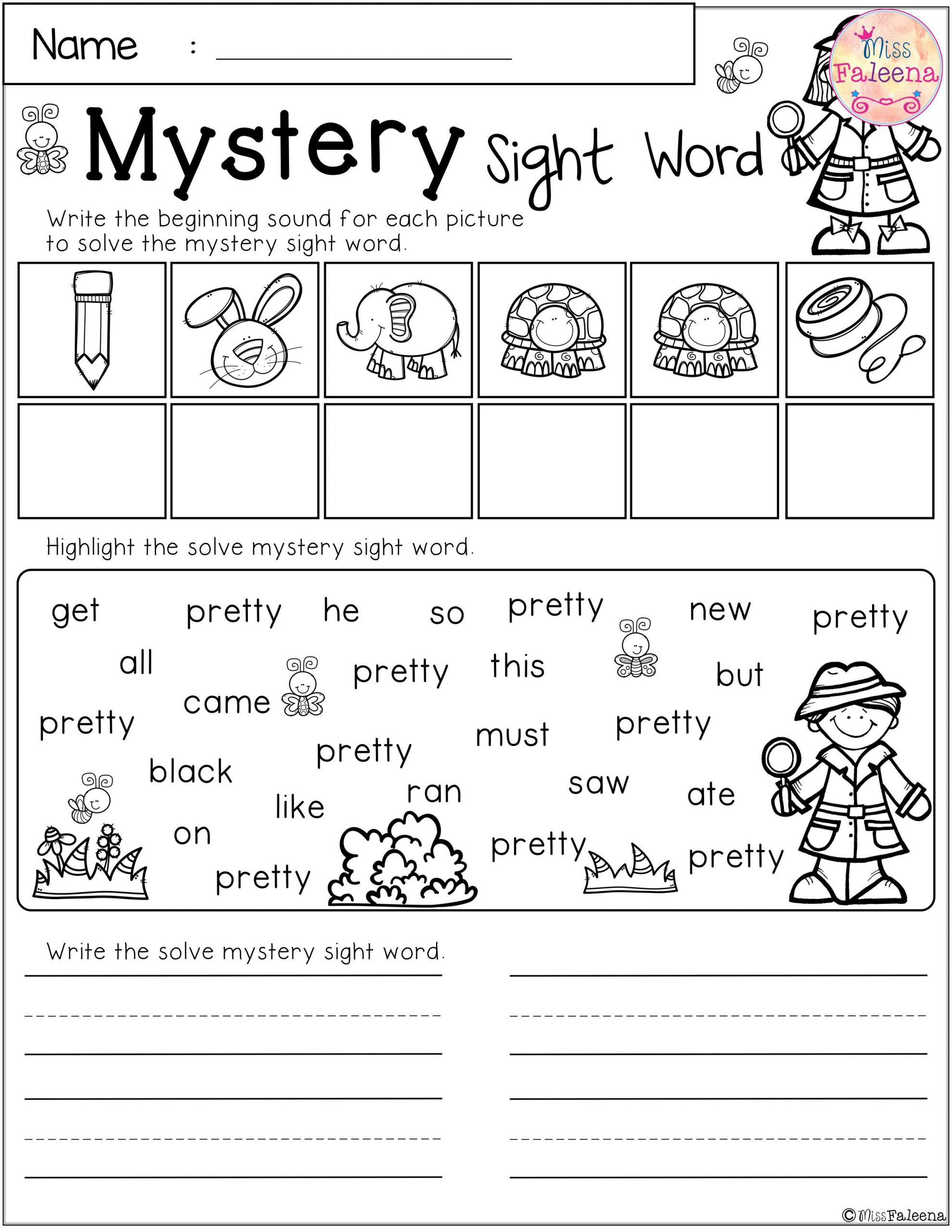 2nd Grade Sight Word Worksheets there are 10 Pages Of Mystery Sight Word Practice Worksheets