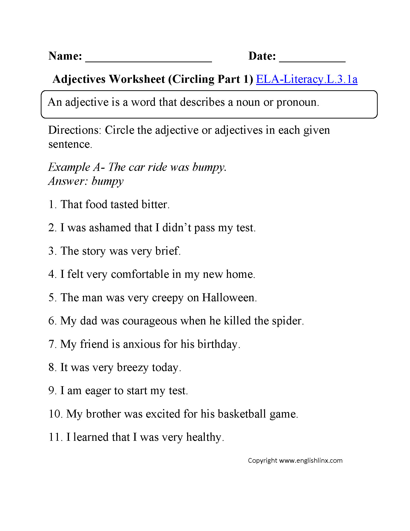 3rd Grade Adjectives Worksheets 3 Free Grammar Worksheets Third Grade 3 Adjectives Pare