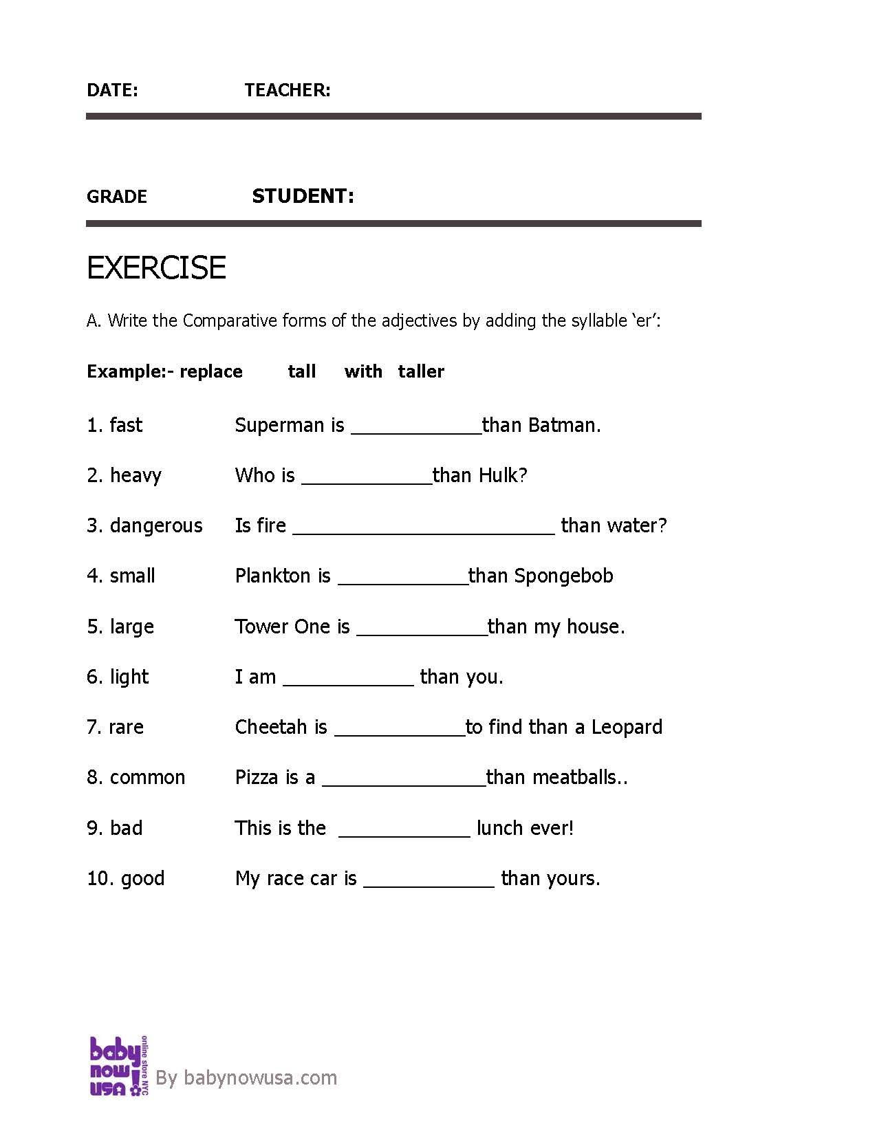 Adjectives parative Adjective Worksheet for Grade 3