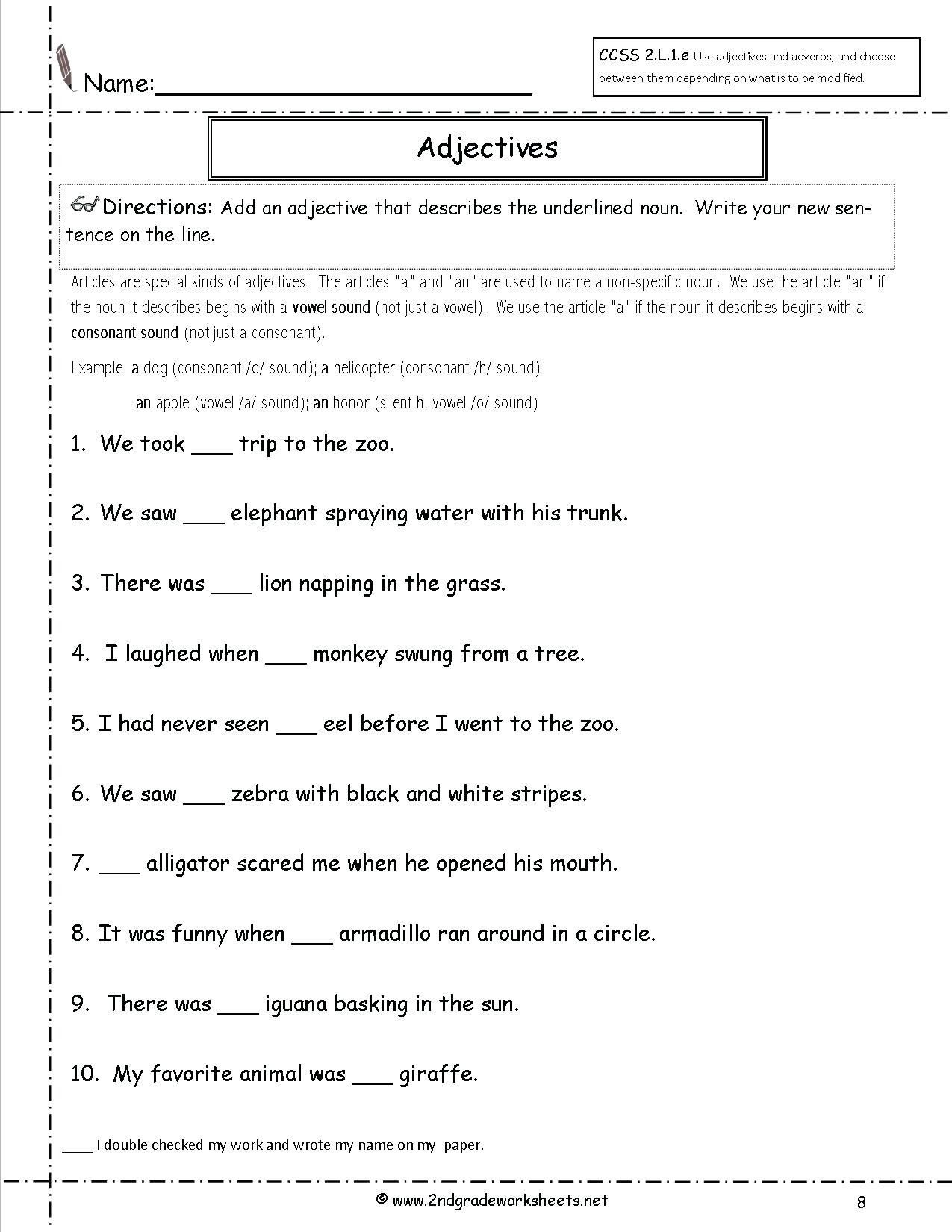 3rd Grade Adjectives Worksheets Articles Adjectives Worksheet 2nd Grade