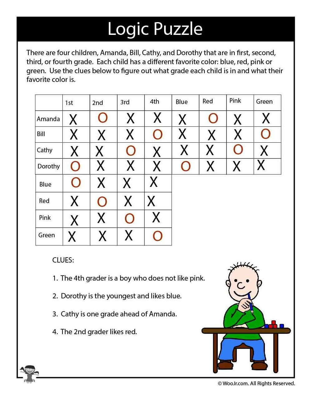 3rd Grade Brain Teasers Printable Hard Logic Puzzle for Kids Answers