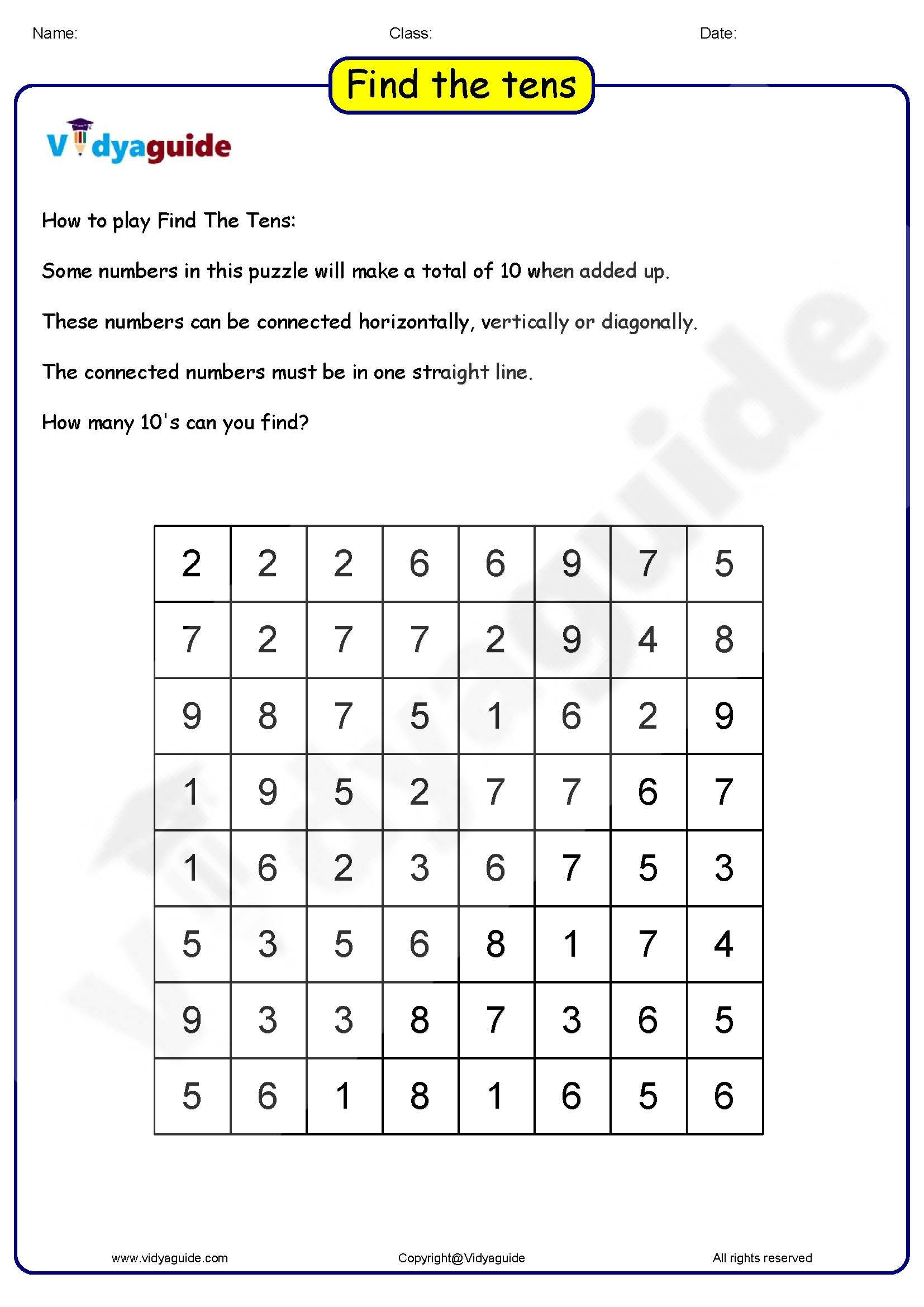 3rd Grade Brain Teasers Printable Maths Games for Kids Find the Tens 01