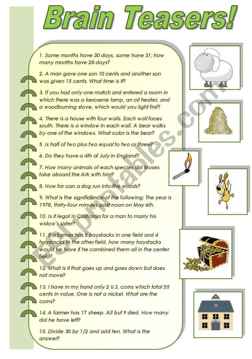 3rd Grade Brain Teasers Worksheets Brain Teasers A Collection Of Funny Brain Teasers with