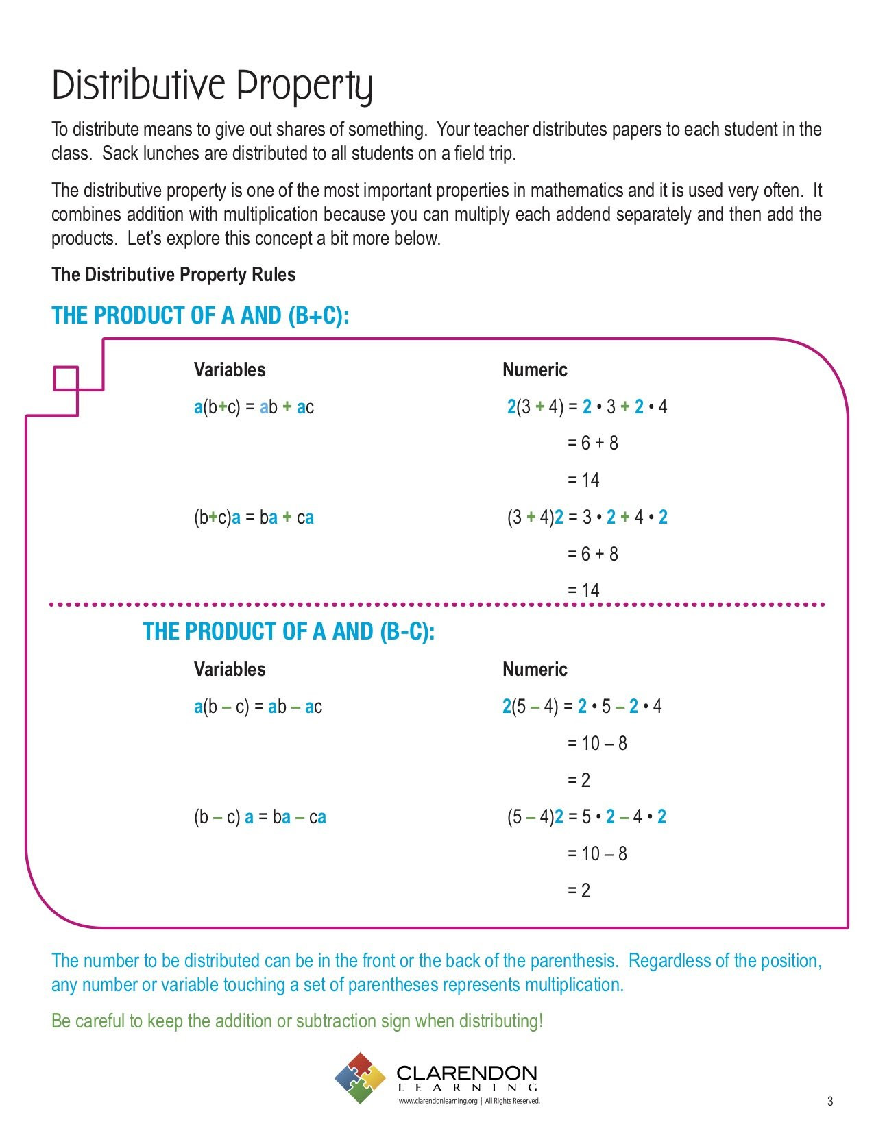 3rd Grade Distributive Property Worksheets Distributive Property Lesson Plan