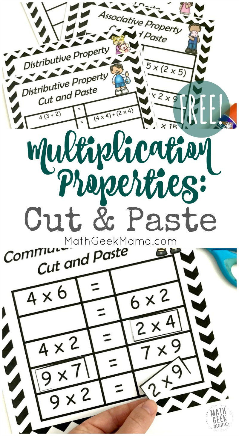 3rd Grade Distributive Property Worksheets Free Properties Of Multiplication Cut & Paste Practice