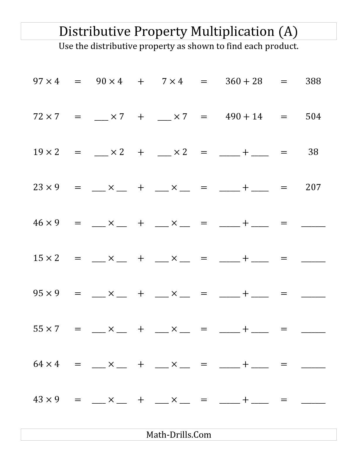 3rd Grade Distributive Property Worksheets the Multiply 2 Digit by 1 Digit Numbers Using the