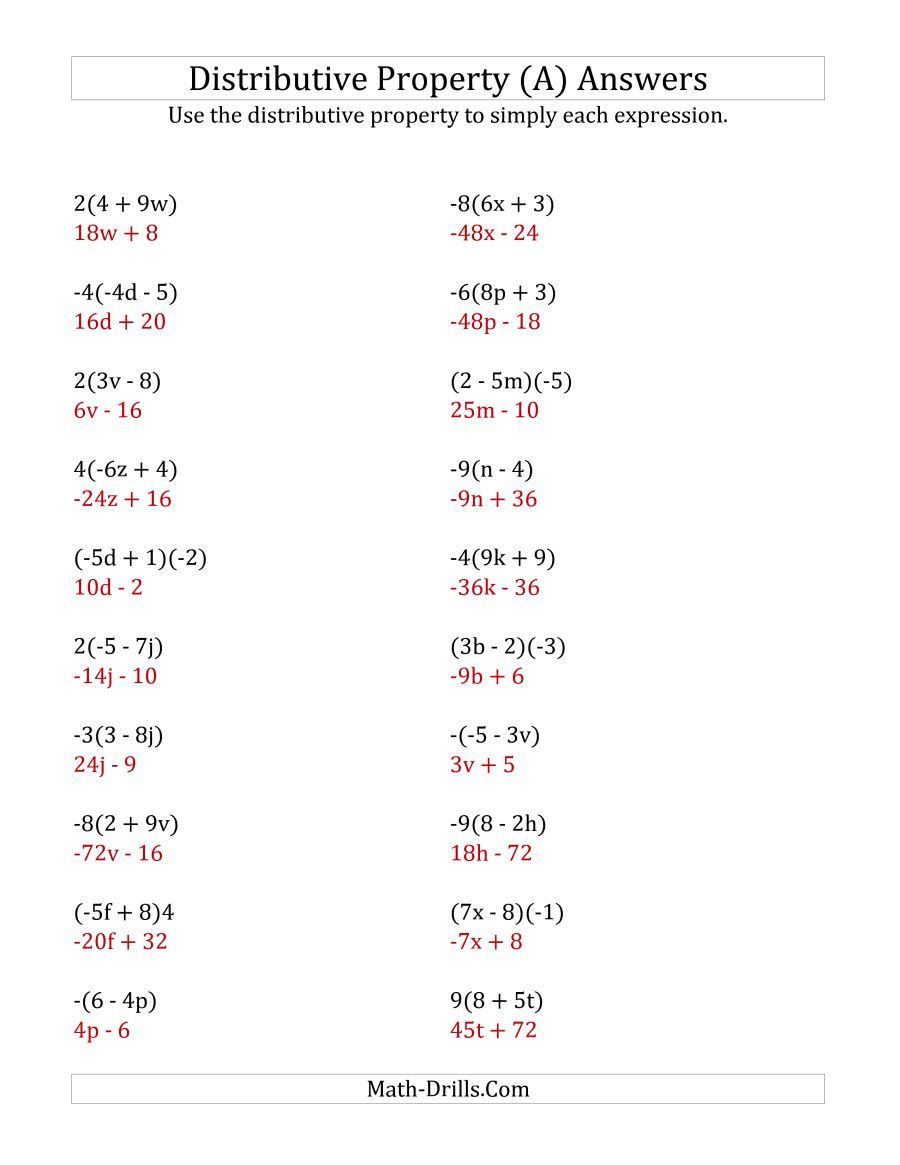 3rd Grade Distributive Property Worksheets the Using the Distributive Property Answers Do Not Include