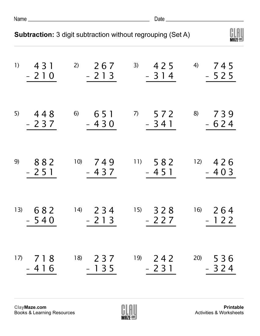 3rd Grade Regrouping Worksheets Download Our Free Printable 3 Digit Subtraction Worksheet