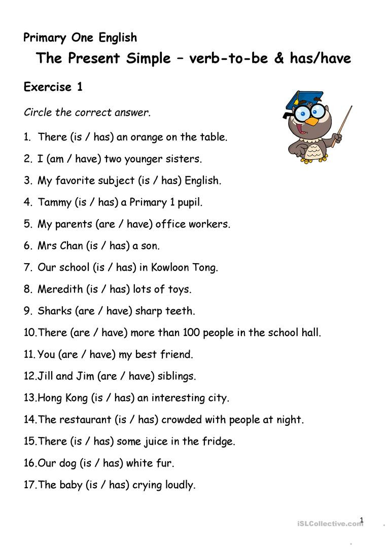 3rd Grade Verb Tense Worksheets Simple Present Tense Verb to Has Have English Esl Verbs