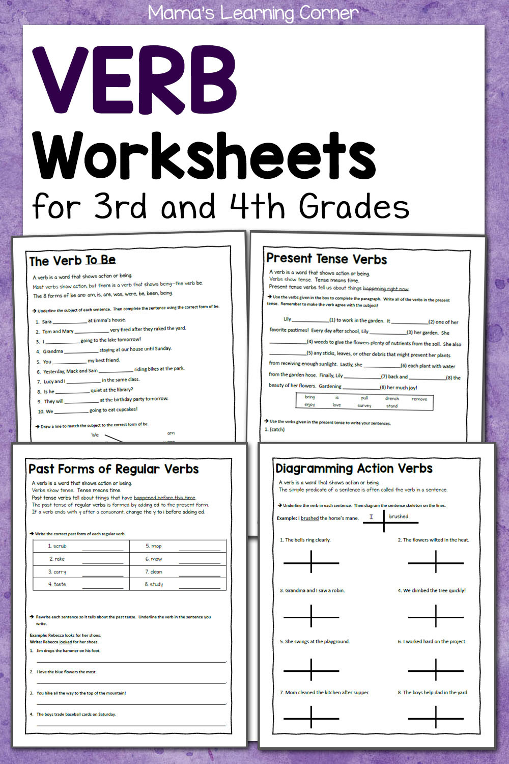 3rd Grade Verb Tense Worksheets Verb Worksheets for 3rd and 4th Grades Mamas Learning Corner