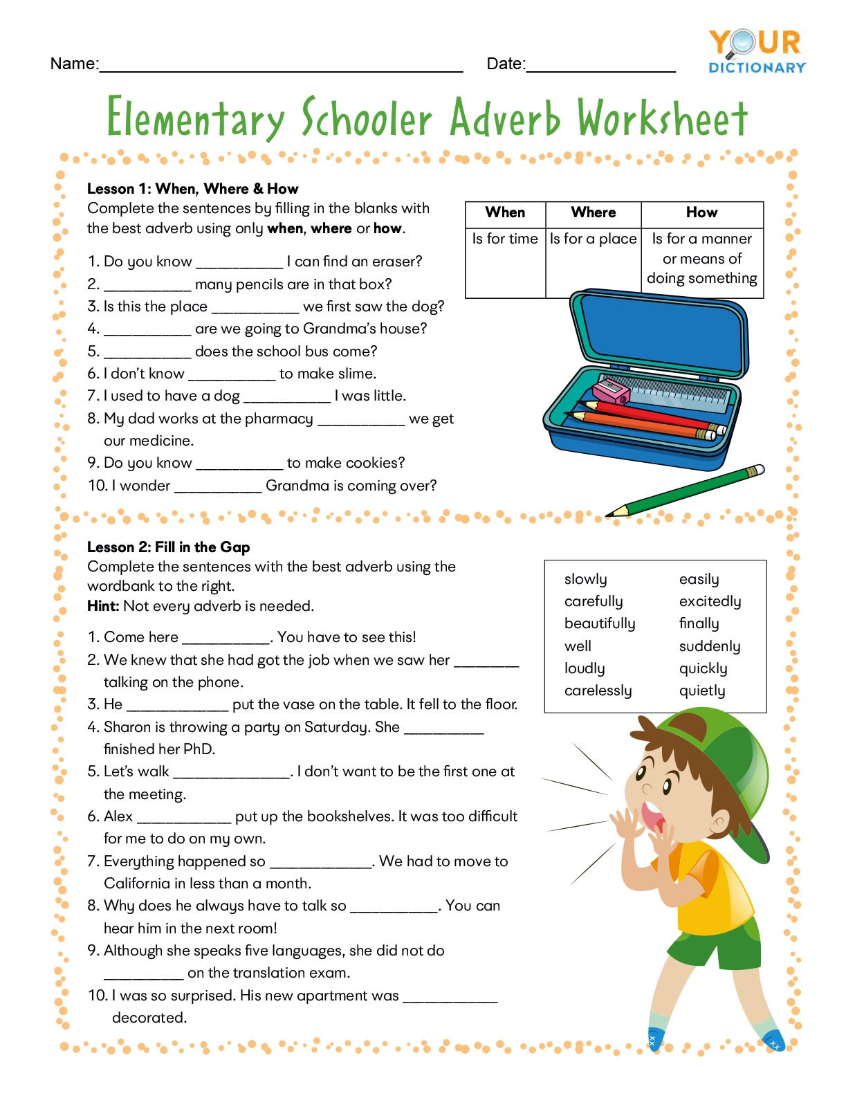 Adverb Worksheets for Elementary and Middle School