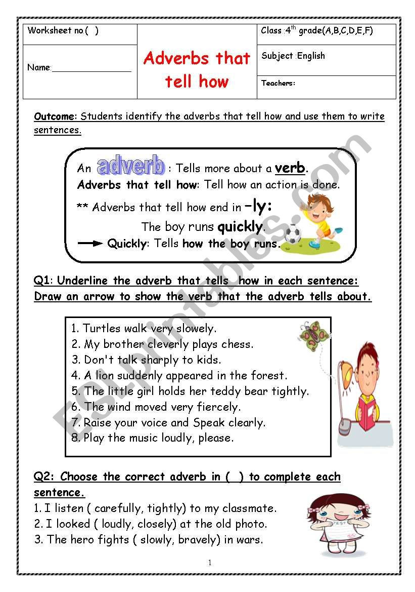4th Grade Adverb Worksheets Adverbs Esl Worksheet by Manar K