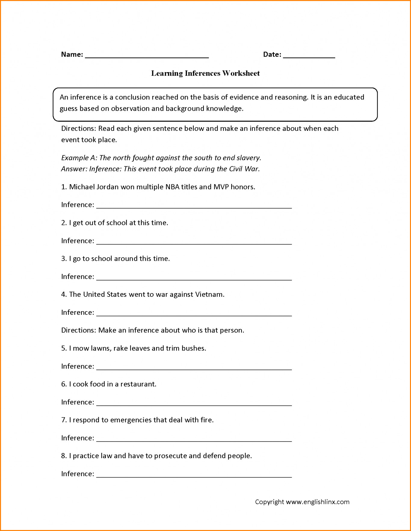 4th Grade Inferencing Worksheets Observation Inference Worksheet