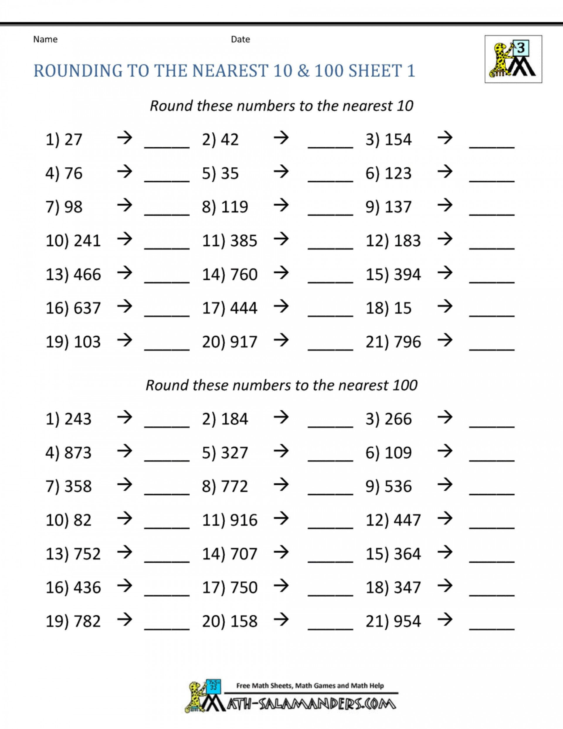 4th Grade Rounding Worksheets Pin On Educational Worksheets Template