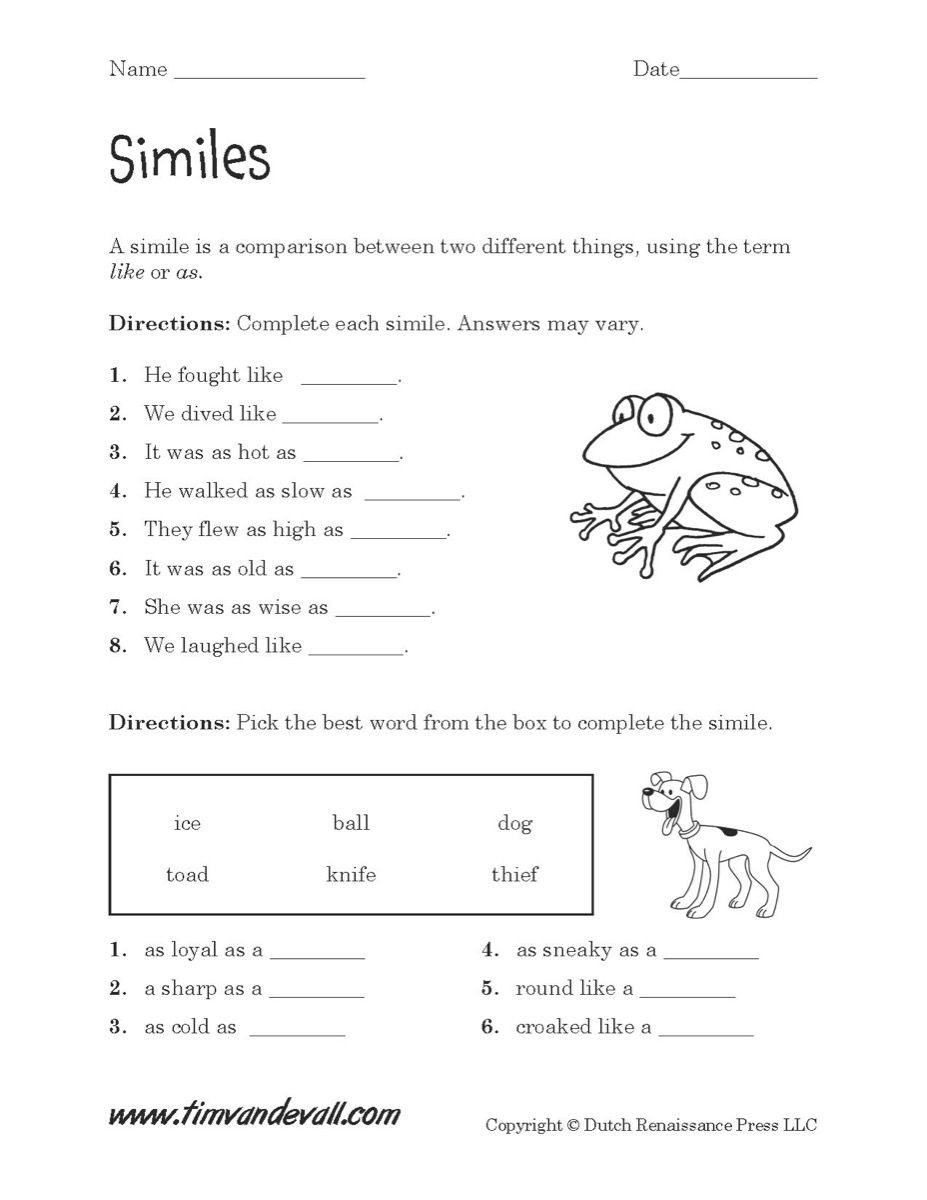 4th Grade Writing Worksheets Pdf Simile Worksheets Pdf S Beatlesblogcarnival