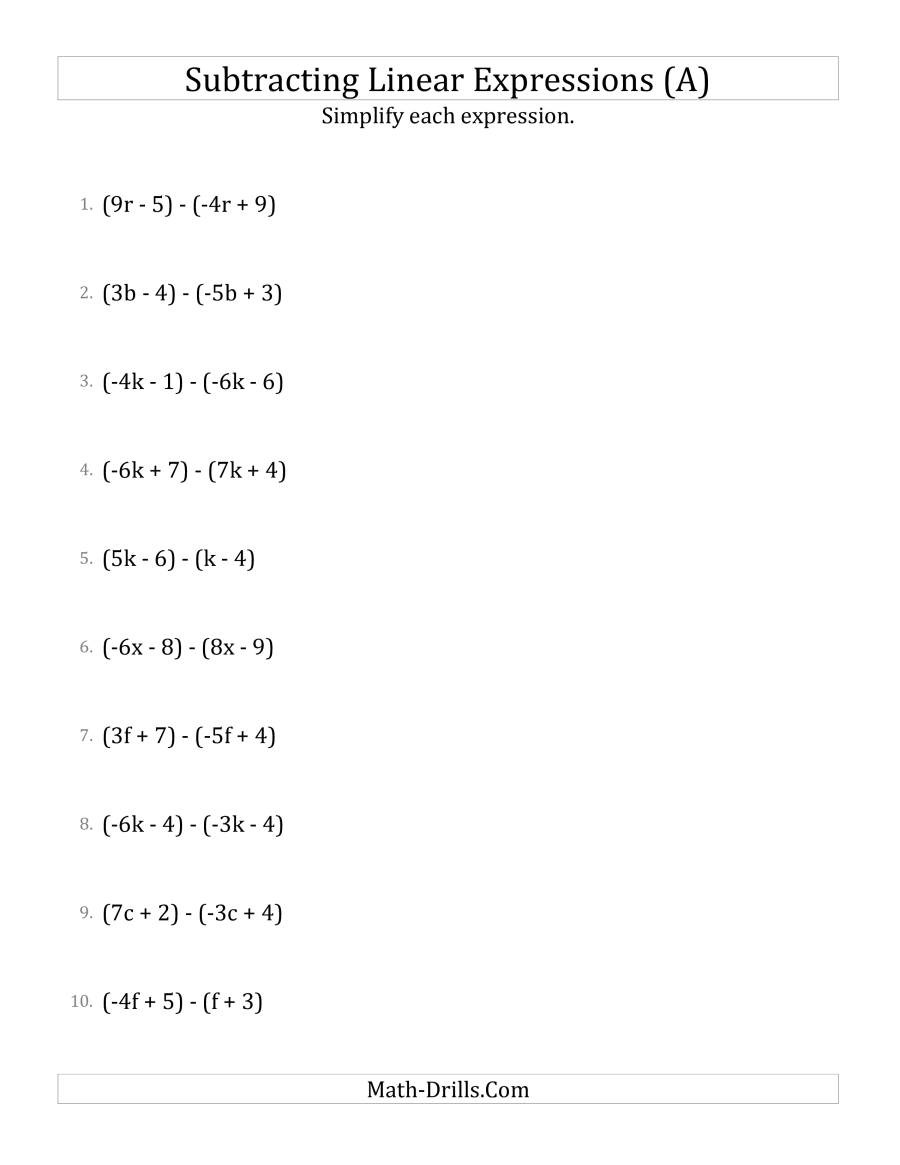 5th Grade Algebraic Expressions Worksheets Subtracting and Simplifying Linear Expressions A
