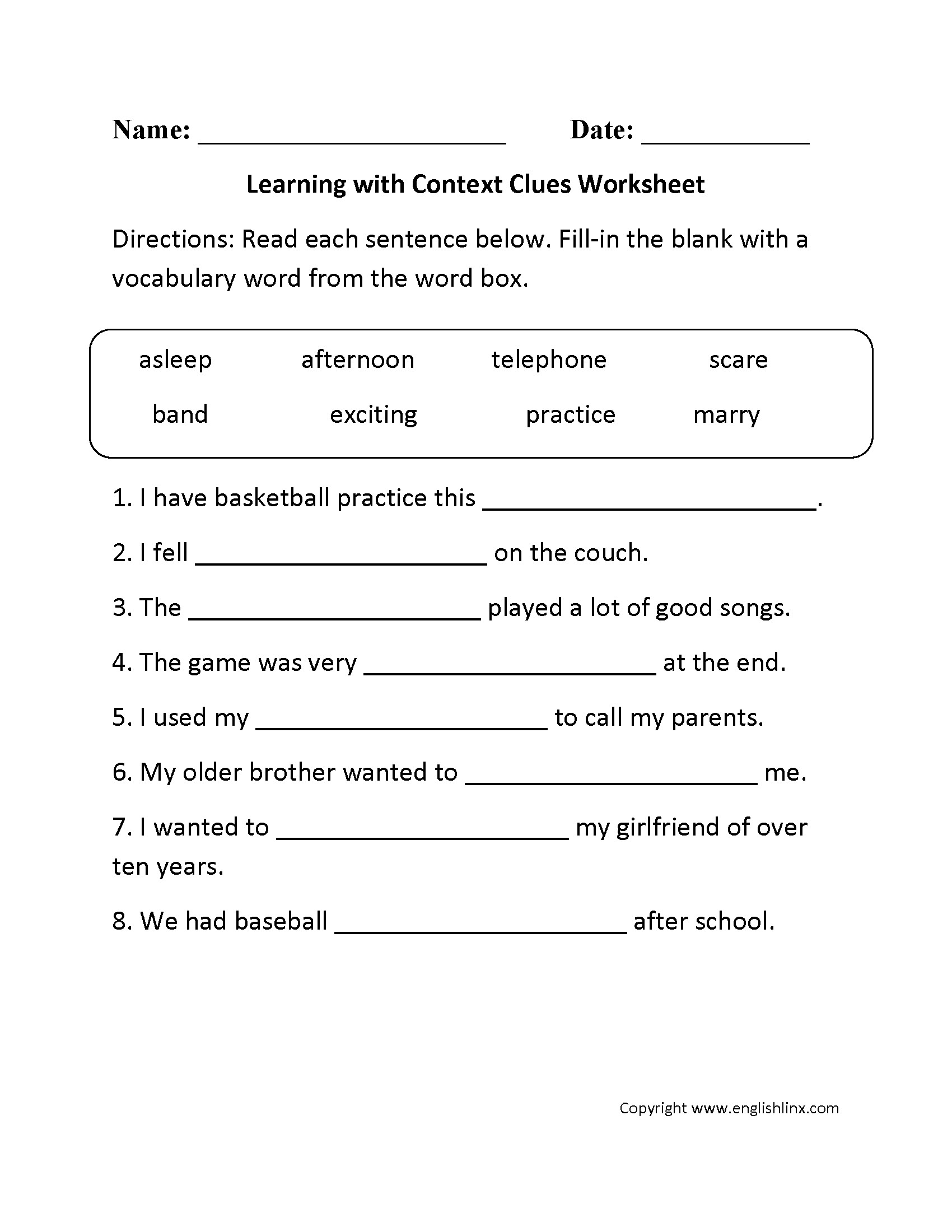 5th Grade Context Clues Worksheets Ereading Worksheet Context Clues