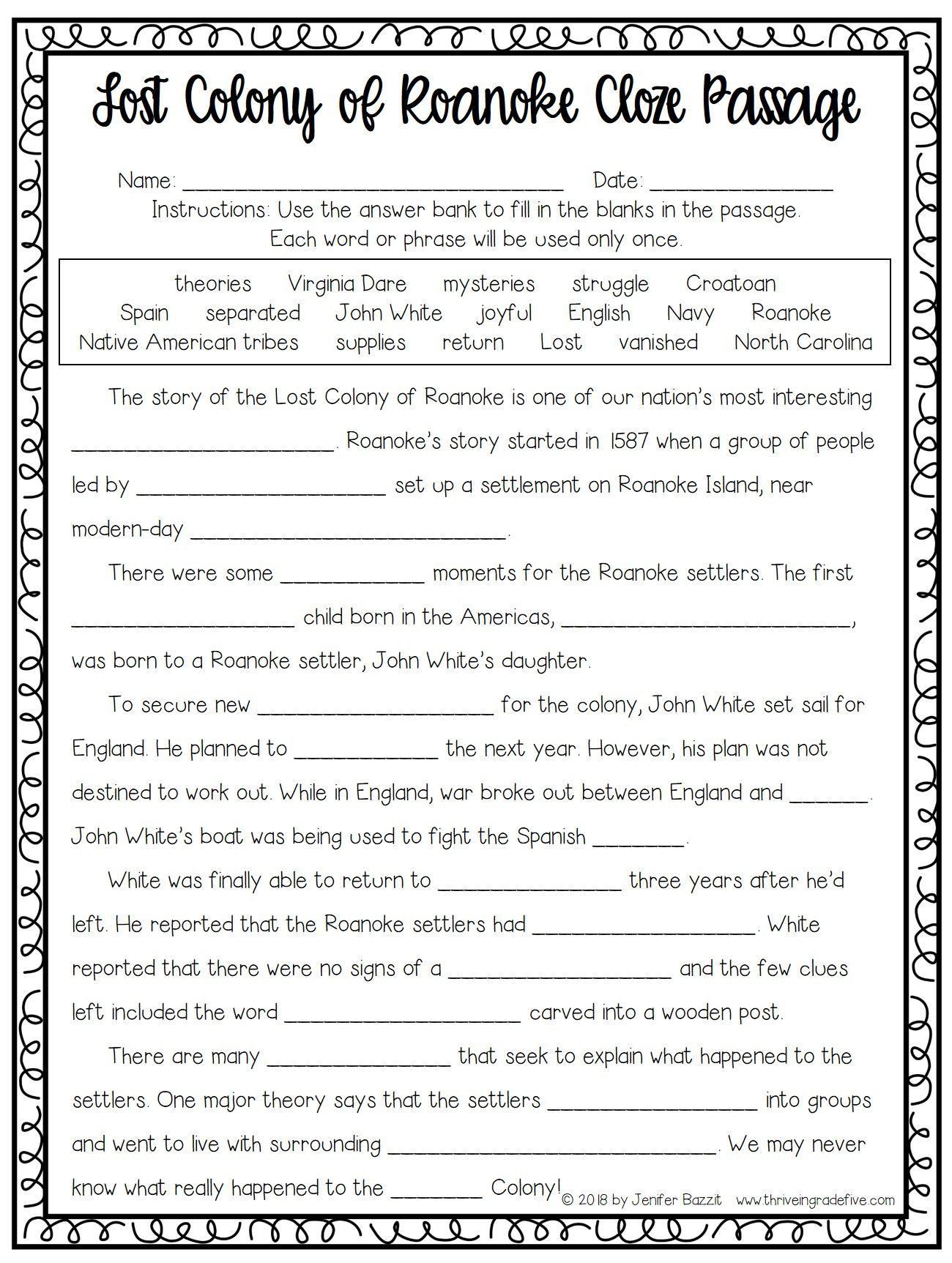 5th Grade History Worksheets Lost Colony Of Roanoke Activity Free