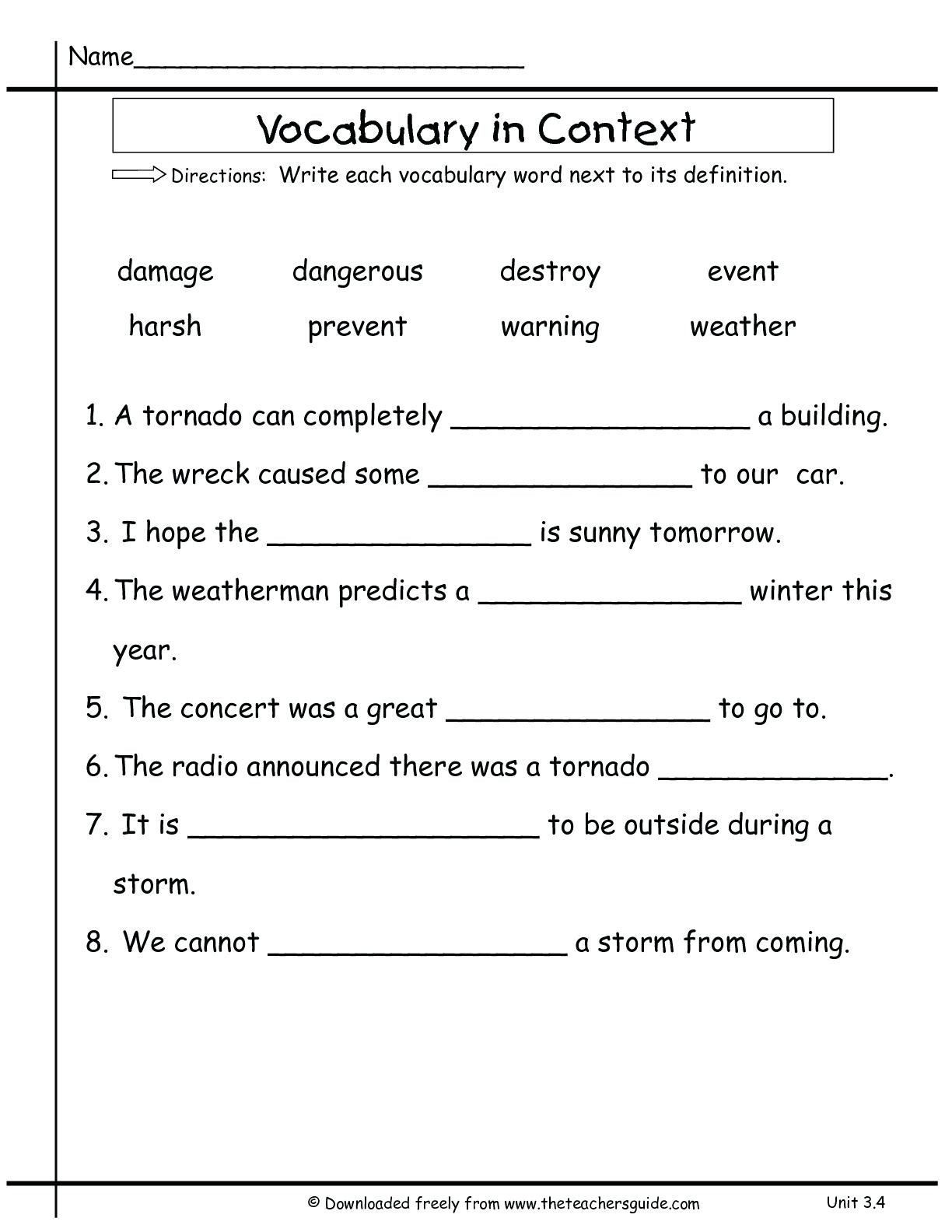 5th Grade Jeopardy Math 3rd Grade Vocabulary Worksheets for Educations 2nd Two Step