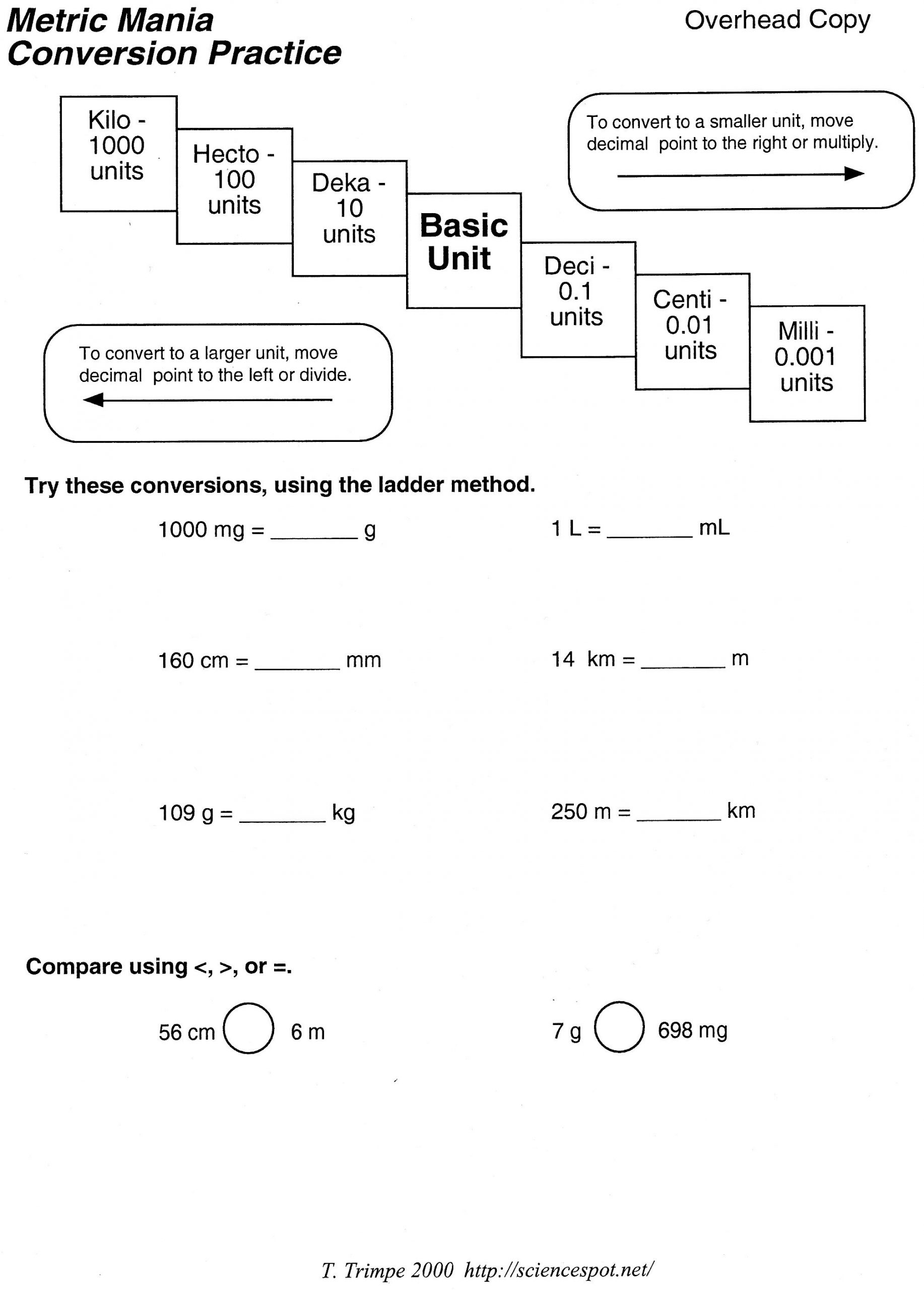 5th Grade Metric Conversion Worksheets Metric Unit Conversion Word Problems Worksheet