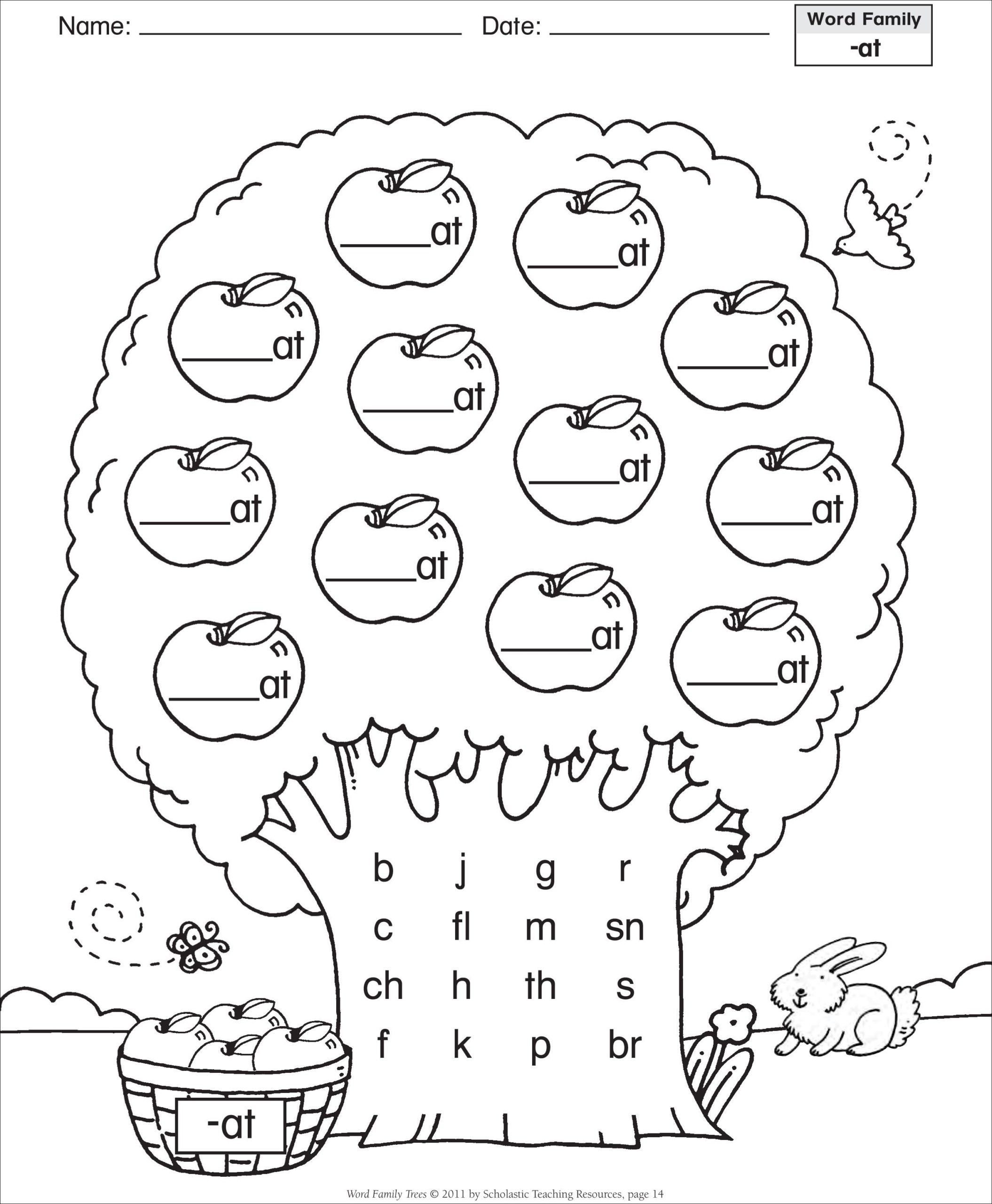 6th Grade Art Worksheets Word Family Template Short Vowel at Tree Grade English