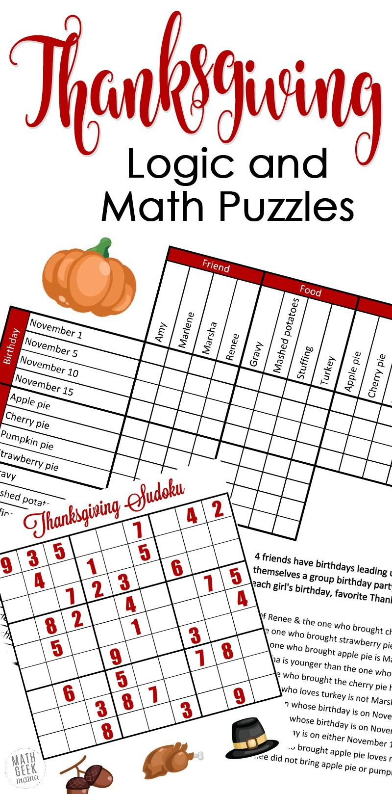 6th Grade Math Puzzles Pdf Free Fun Thanksgiving Math Puzzles for Older Kids