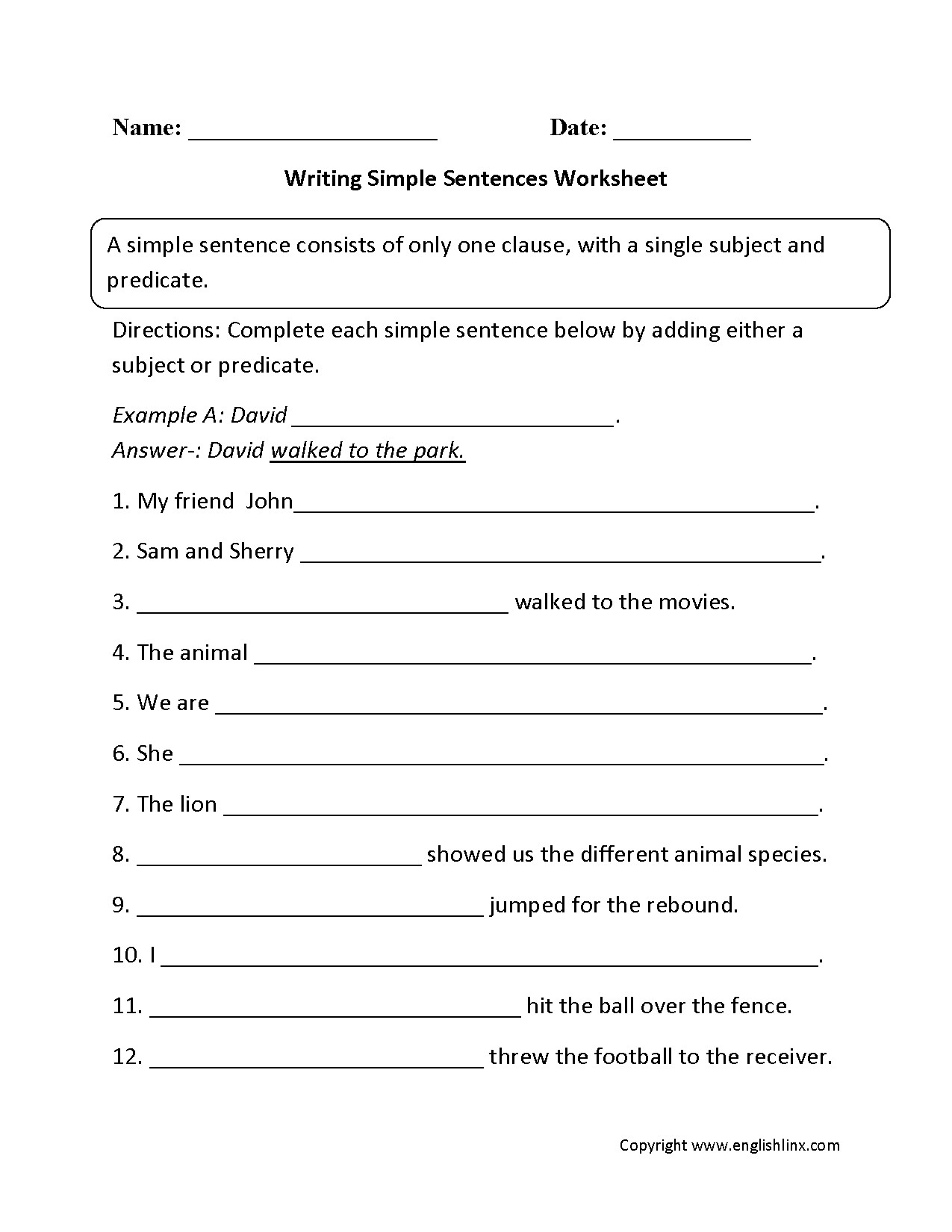 6th Grade Sentence Structure Worksheets 6th Grade Sentence Structure Worksheet
