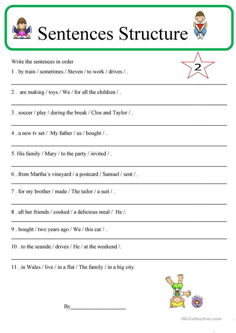 6th Grade Sentence Structure Worksheets English Esl Sentence Structure Worksheets Most Ed