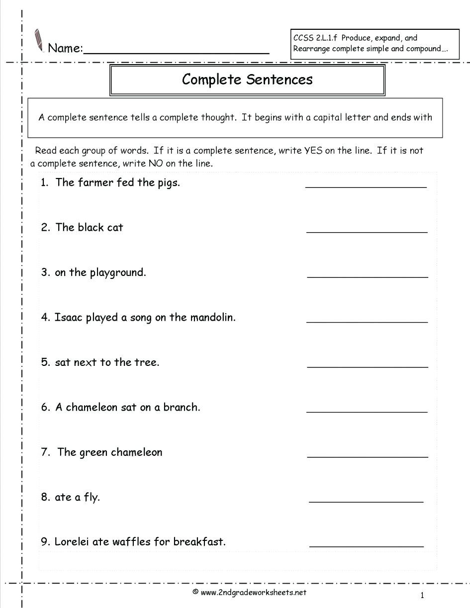 6th Grade Sentence Structure Worksheets Free Sentence Structure Worksheets Basic Sentence Structure