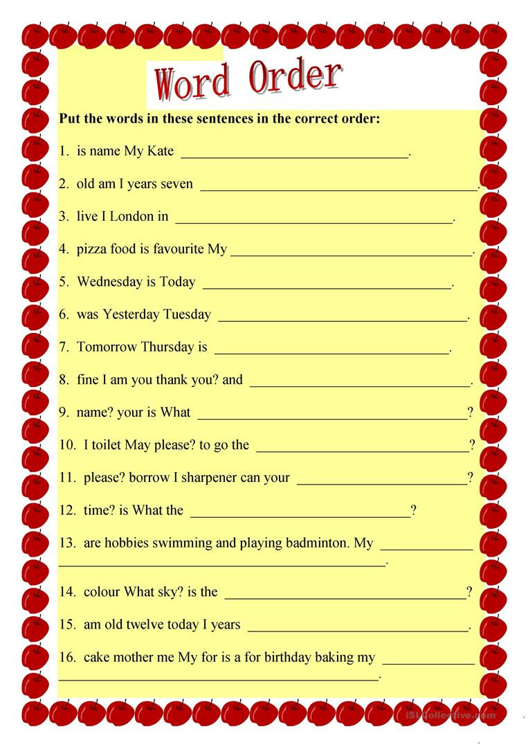 6th Grade Sentence Structure Worksheets Sentence Structure English Esl Worksheets for Distance