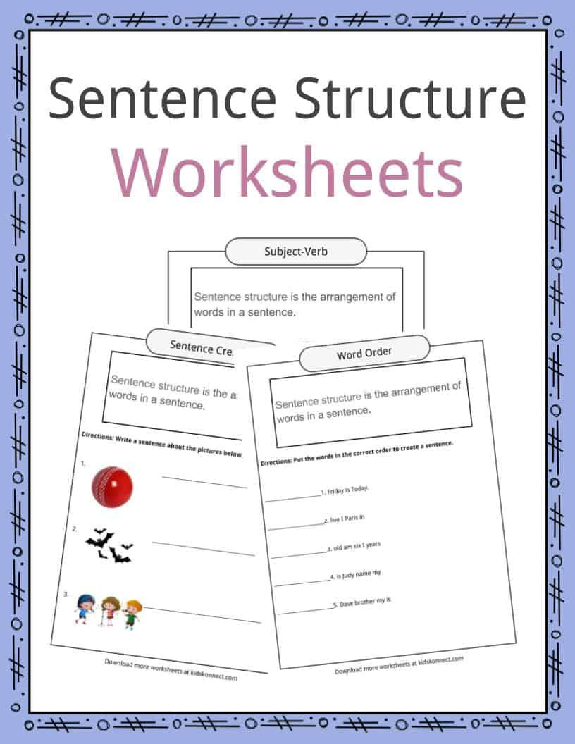 6th Grade Sentence Structure Worksheets Sentence Structure Worksheets Examples Definition for Kids