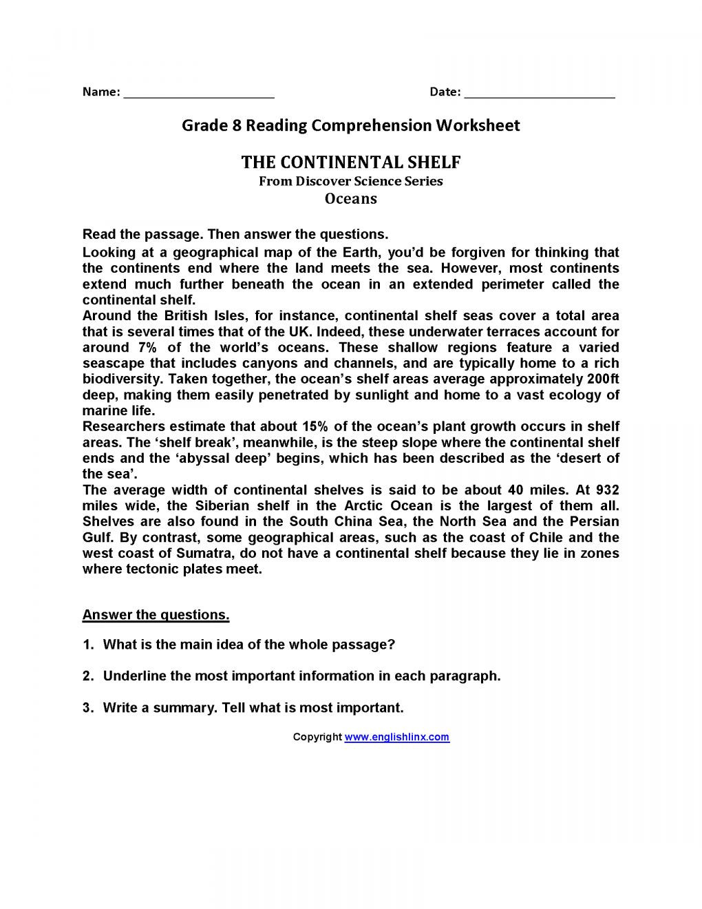 8th Grade Main Idea Worksheets 7 Reading Prehension Grade 8 Worksheet Reading